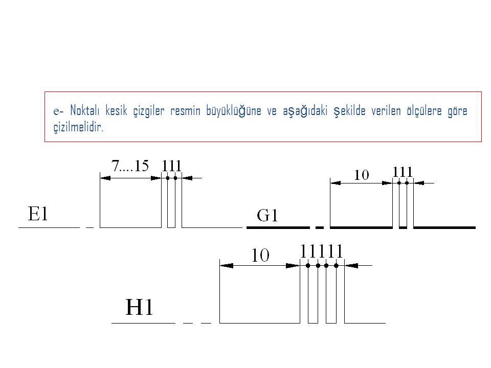 e- Noktalı kesik çizgiler resmin büyüklüğüne ve aşağıdaki şekilde verilen ölçülere göre çizilmelidir.