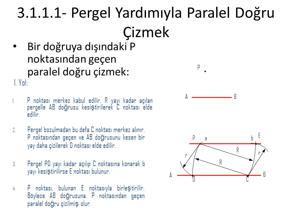 3.1.1.1- Pergel Yardımıyla Paralel Doğru Çizmek