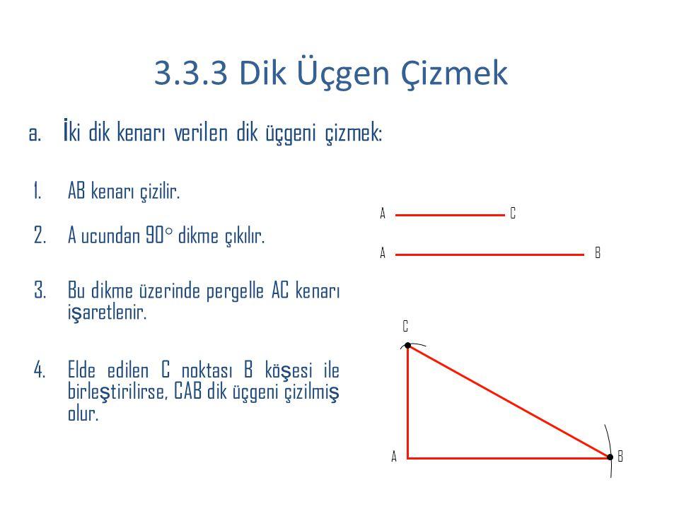 3.3.3 Dik Üçgen Çizmek İki dik kenarı verilen dik üçgeni çizmek:
