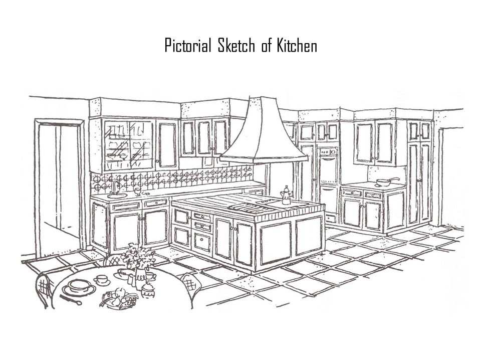 Pictorial Sketch of Kitchen