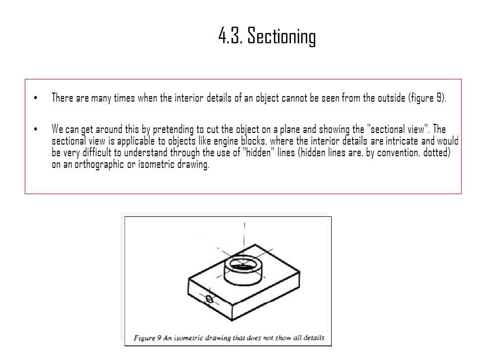 4.3. Sectioning There are many times when the interior details of an object cannot be seen from the outside (figure 9).
