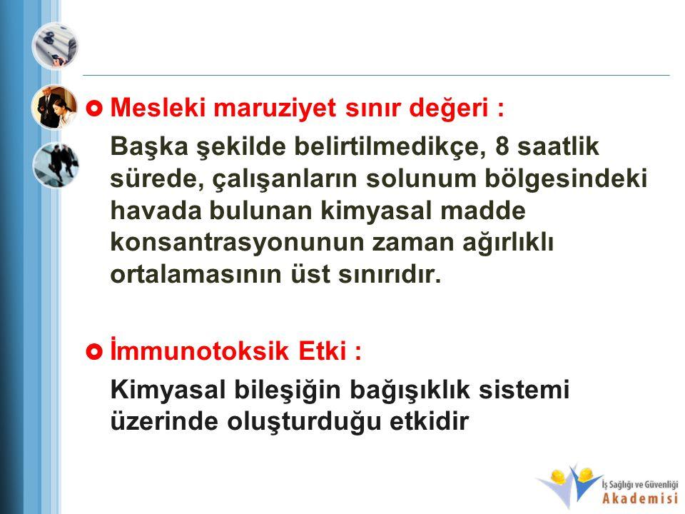 Mesleki maruziyet sınır değeri :