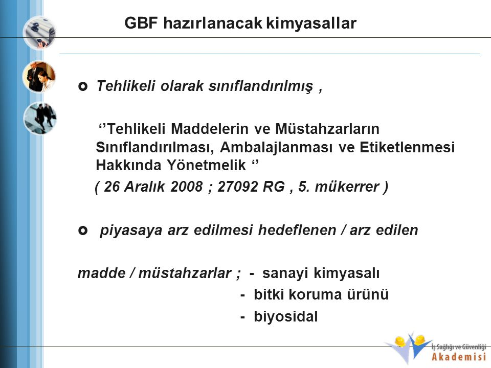 GBF hazırlanacak kimyasallar