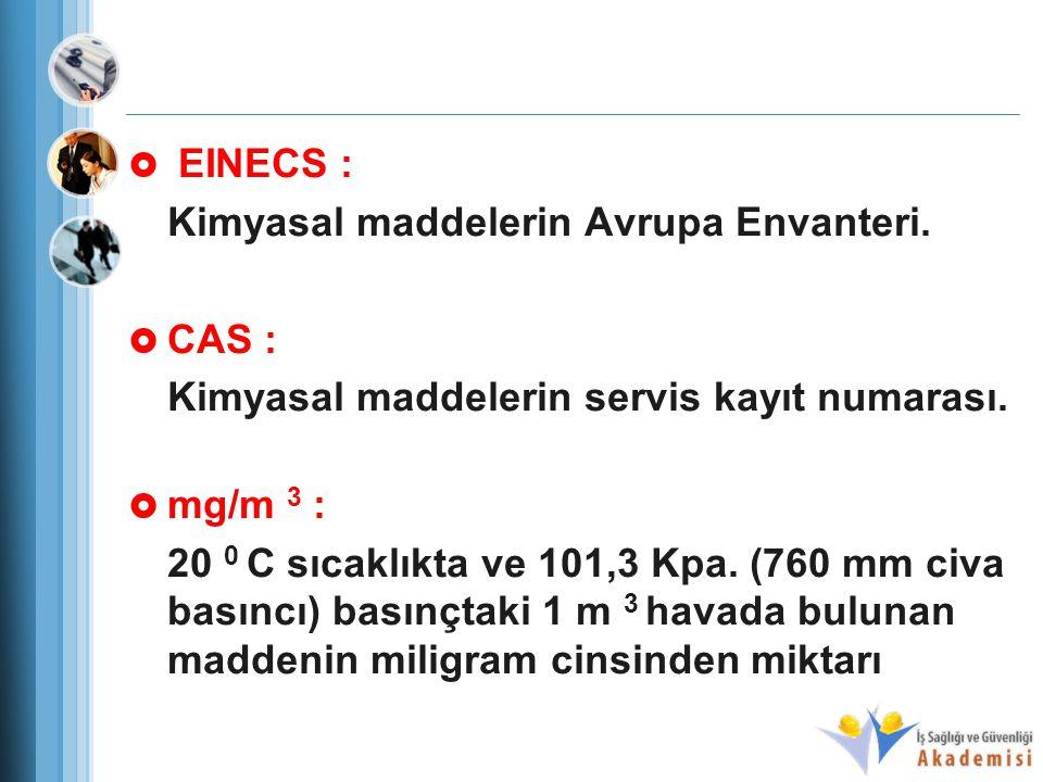 EINECS : Kimyasal maddelerin Avrupa Envanteri. CAS : Kimyasal maddelerin servis kayıt numarası. mg/m 3 :