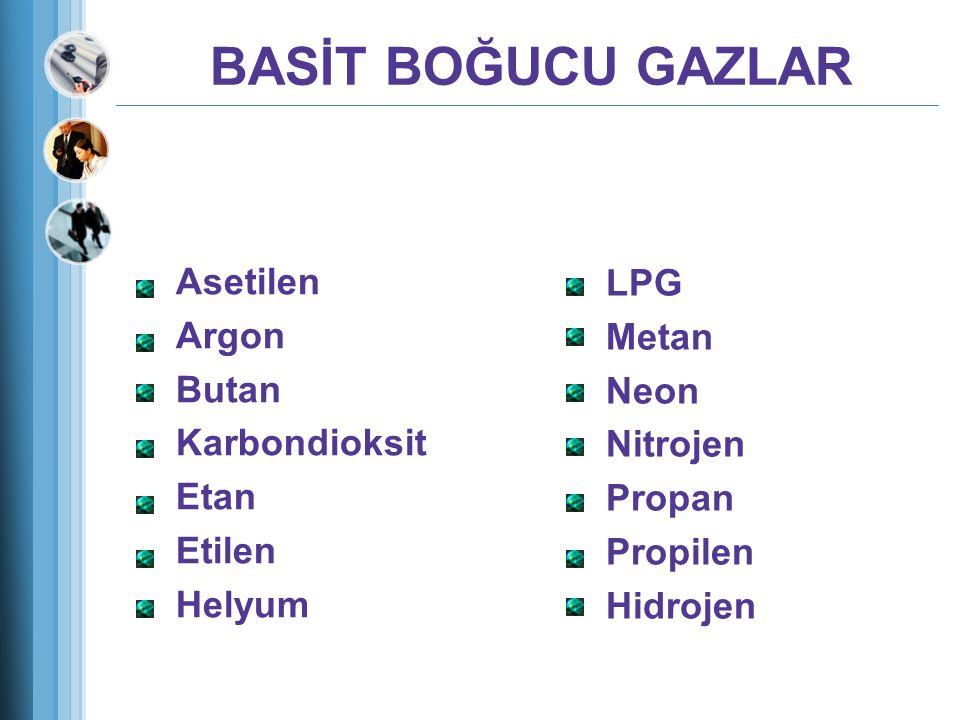 BASİT BOĞUCU GAZLAR Asetilen LPG Argon Metan Butan Neon Karbondioksit