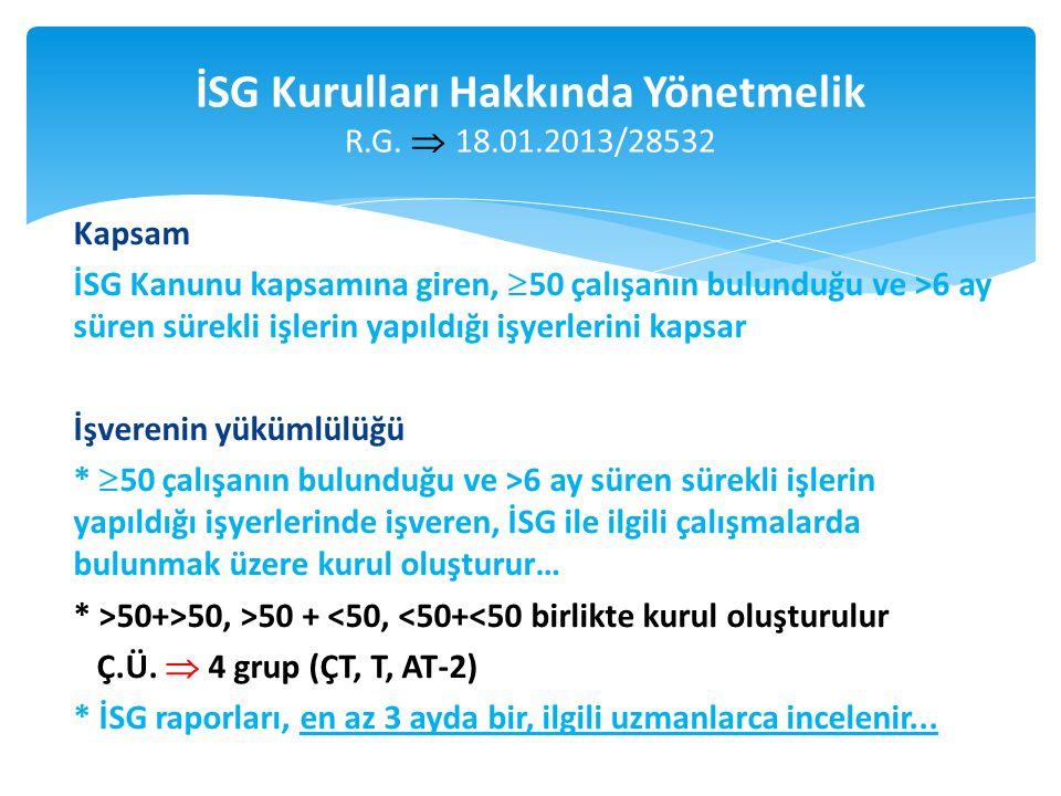 İSG Kurulları Hakkında Yönetmelik R.G. 18.01.2013/28532