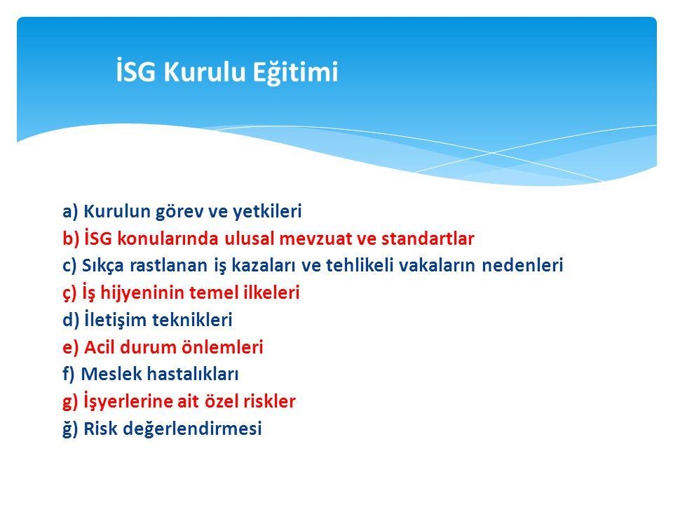 İSG Kurulu Eğitimi a) Kurulun görev ve yetkileri