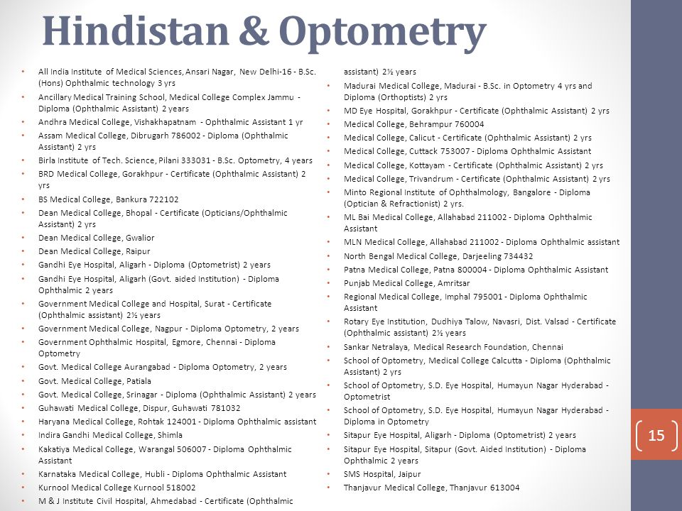 Hindistan & Optometry All India Institute of Medical Sciences, Ansari Nagar, New Delhi-16 - B.Sc. (Hons) Ophthalmic technology 3 yrs.