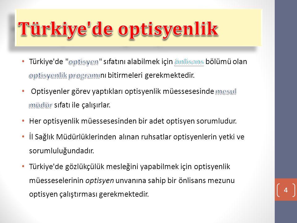 Türkiye de optisyenlik