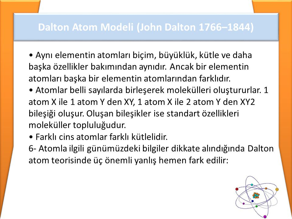 Dalton Atom Modeli (John Dalton 1766–1844)