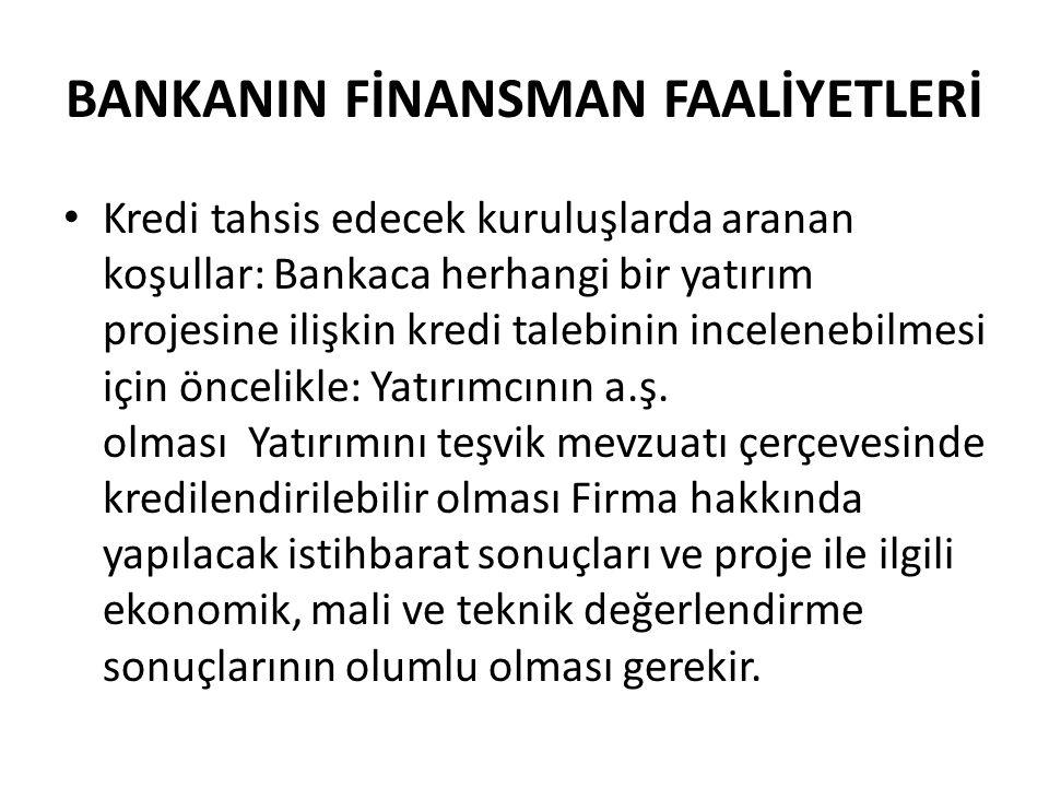 BANKANIN FİNANSMAN FAALİYETLERİ