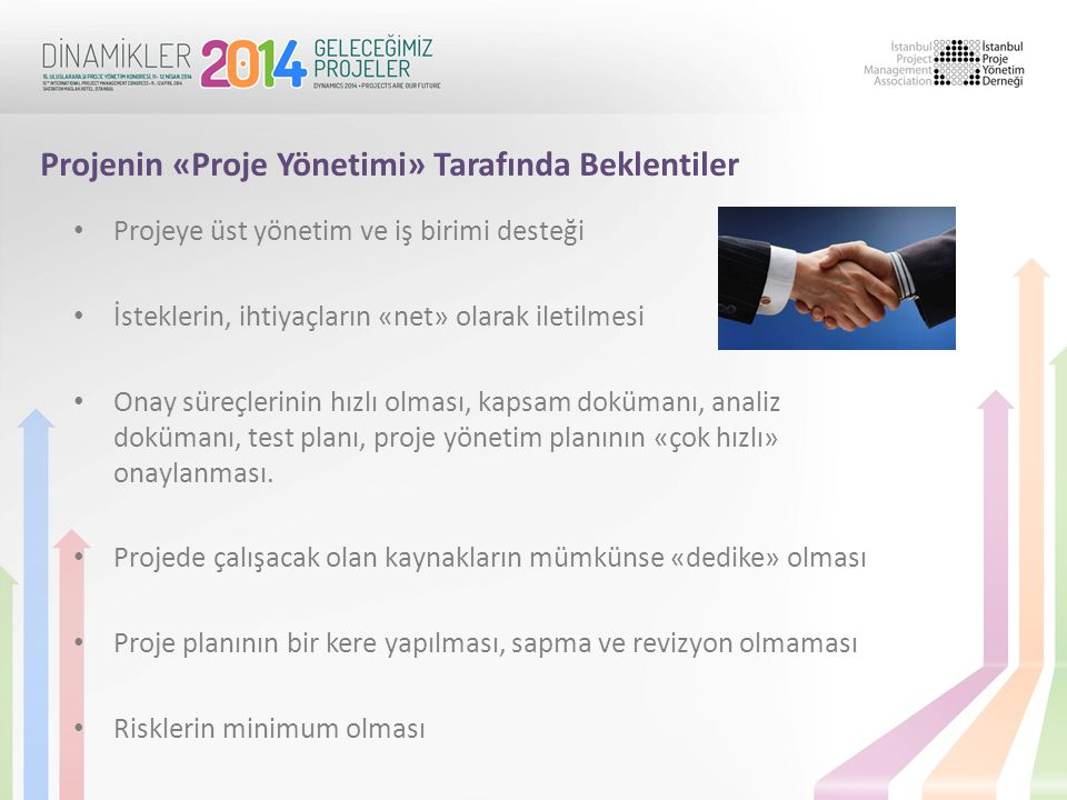 Projenin «Proje Yönetimi» Tarafında Beklentiler