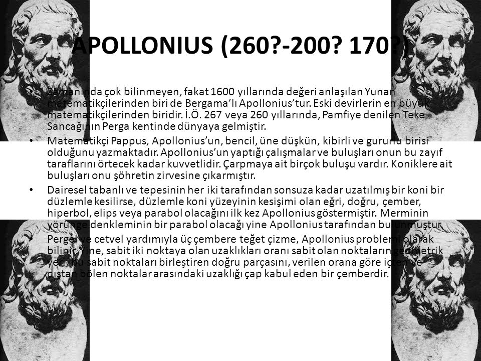 APOLLONIUS (260 -200 170 )