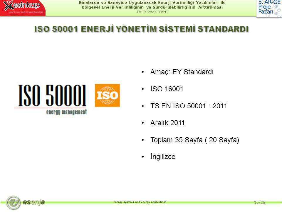 ISO 50001 ENERJİ YÖNETİM SİSTEMİ STANDARDI