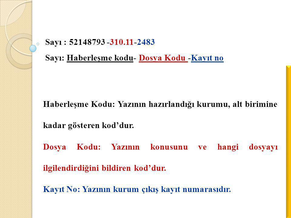 Sayı : 52148793 -310.11-2483 Sayı: Haberleşme kodu- Dosya Kodu -Kayıt no.