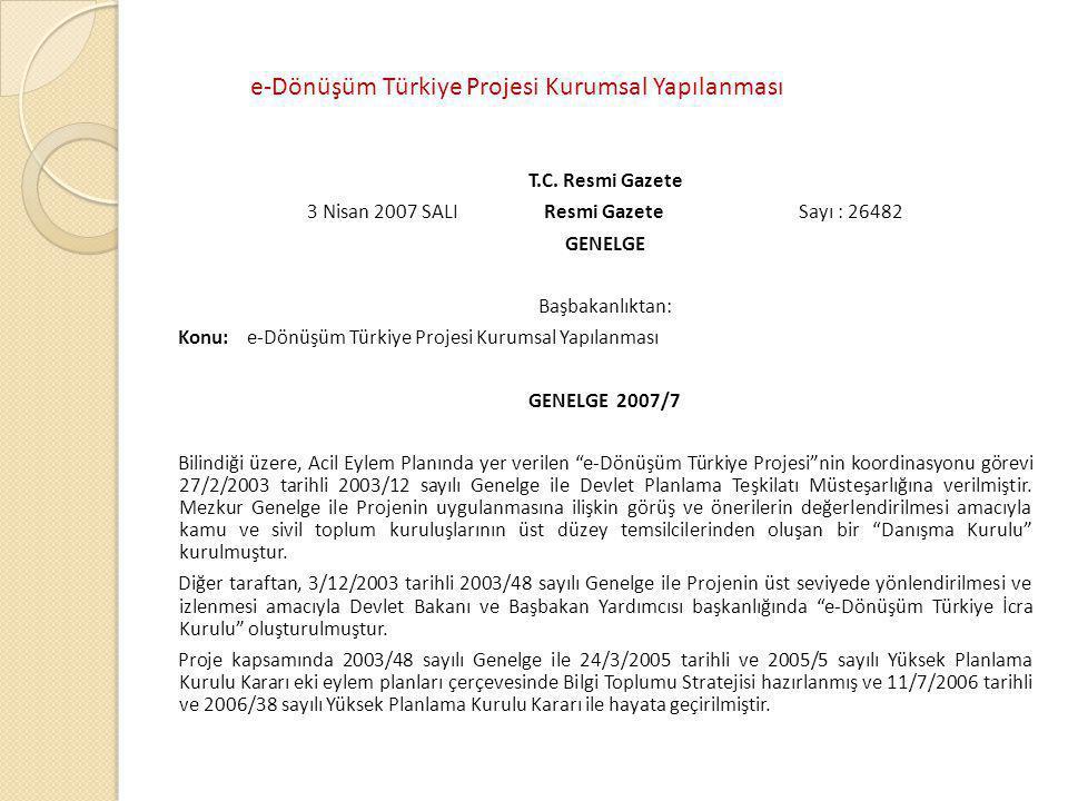 e-Dönüşüm Türkiye Projesi Kurumsal Yapılanması