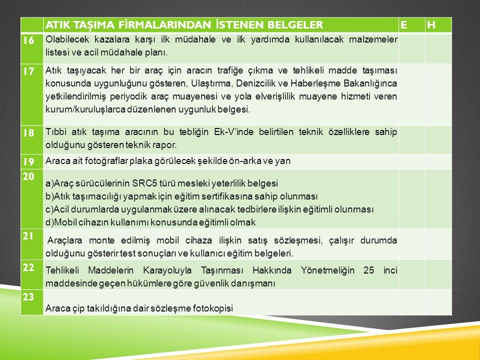 ATIK TAŞIMA FİRMALARINDAN İSTENEN BELGELER E H 16 17