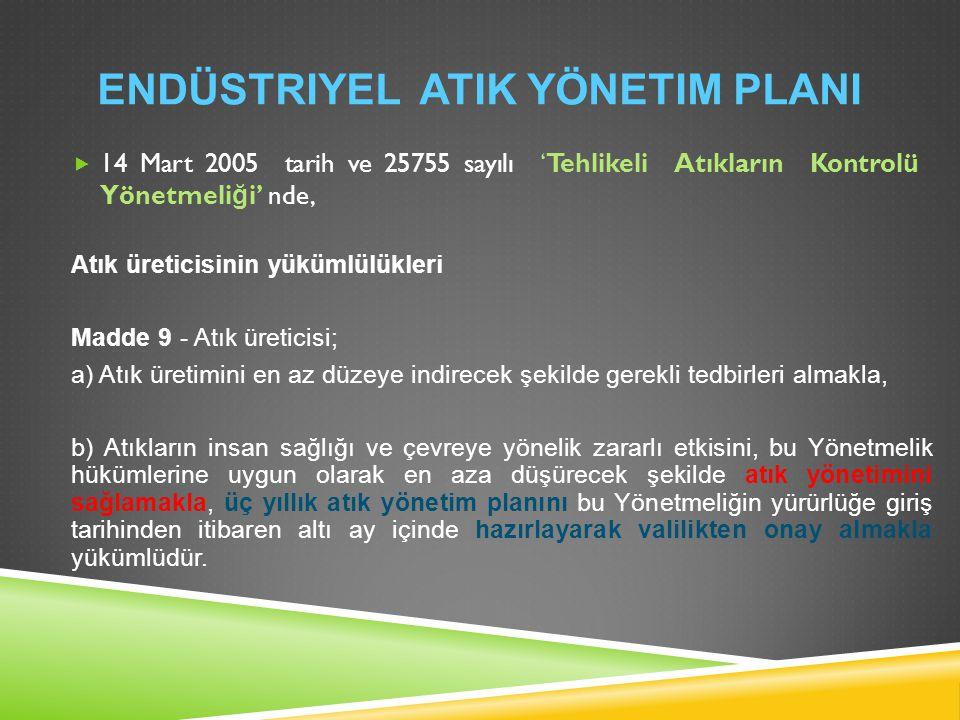 Endüstriyel Atik yönetim plani