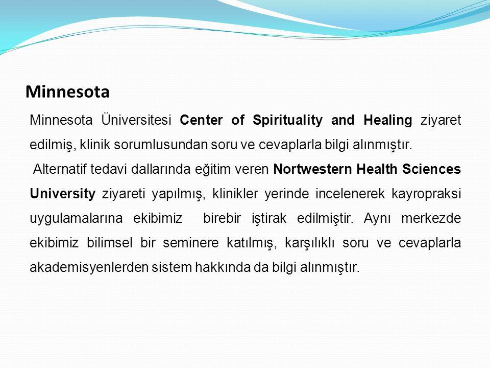 Minnesota Minnesota Üniversitesi Center of Spirituality and Healing ziyaret edilmiş, klinik sorumlusundan soru ve cevaplarla bilgi alınmıştır.
