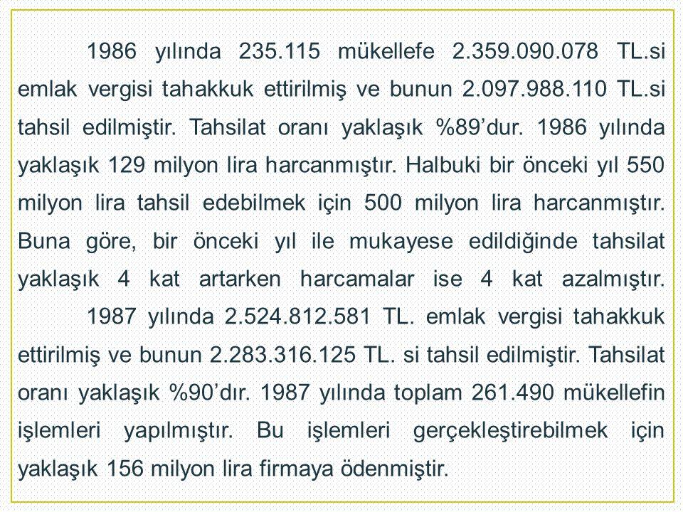 1986 yılında 235.115 mükellefe 2.359.090.078 TL.si emlak vergisi tahakkuk ettirilmiş ve bunun 2.097.988.110 TL.si tahsil edilmiştir.