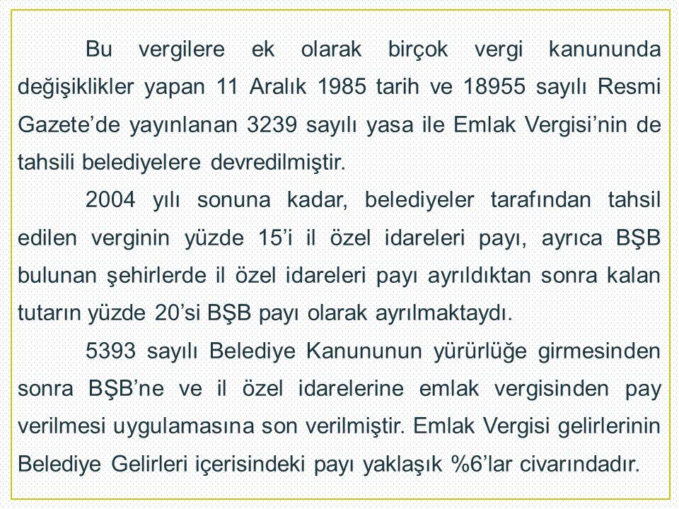 Bu vergilere ek olarak birçok vergi kanununda değişiklikler yapan 11 Aralık 1985 tarih ve 18955 sayılı Resmi Gazete'de yayınlanan 3239 sayılı yasa ile Emlak Vergisi'nin de tahsili belediyelere devredilmiştir.