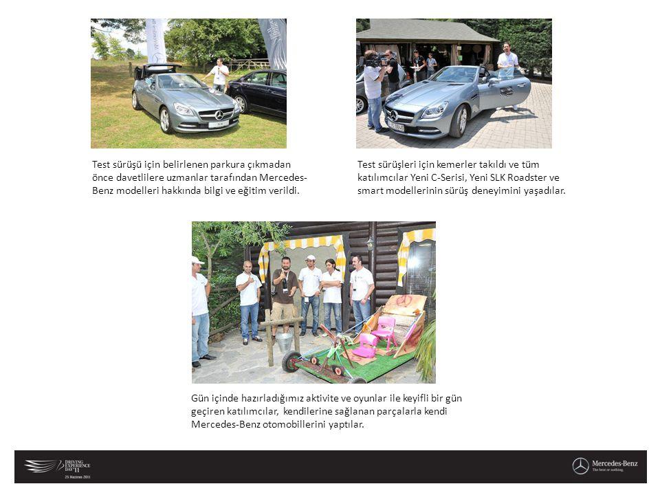 Test sürüşü için belirlenen parkura çıkmadan önce davetlilere uzmanlar tarafından Mercedes-Benz modelleri hakkında bilgi ve eğitim verildi.
