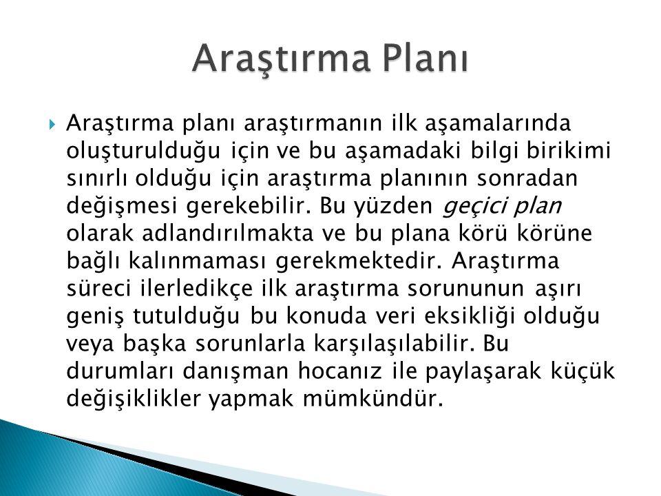 Araştırma Planı