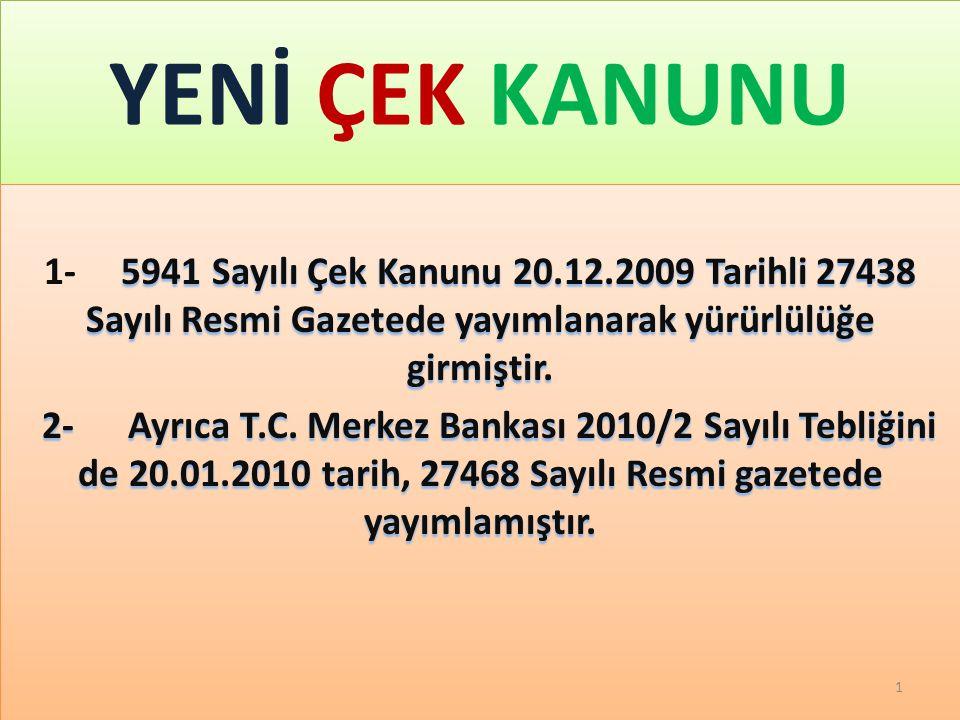 GAZİ TAŞ YENİ ÇEK KANUNU. 2/17/2010.