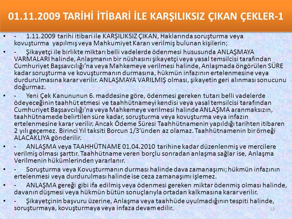 01.11.2009 TARİHİ İTİBARİ İLE KARŞILIKSIZ ÇIKAN ÇEKLER-1