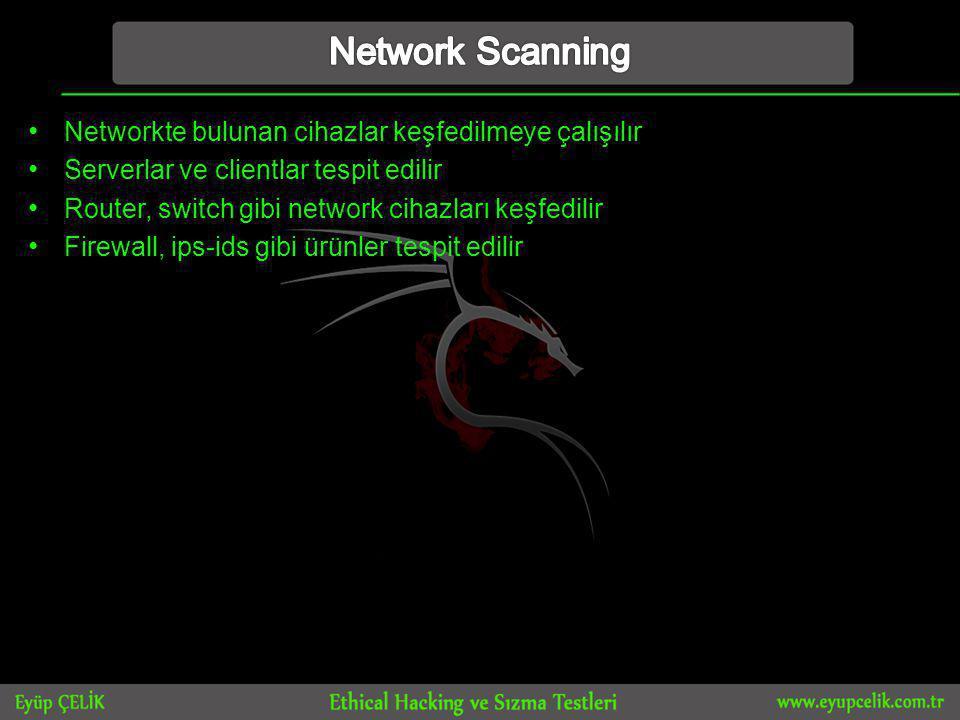 Network Scanning Networkte bulunan cihazlar keşfedilmeye çalışılır