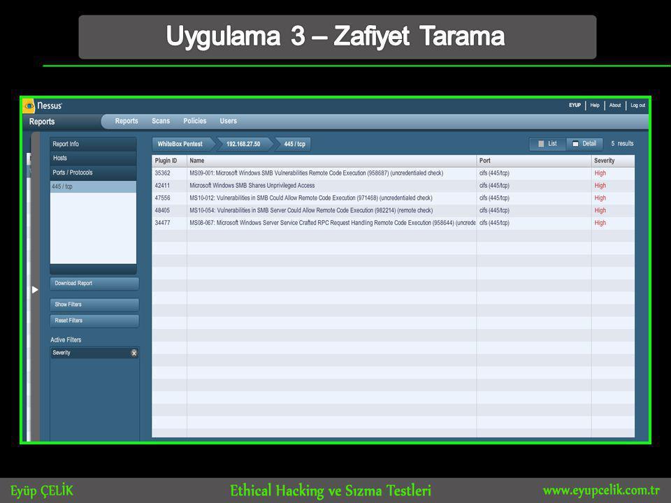 Uygulama 3 – Zafiyet Tarama