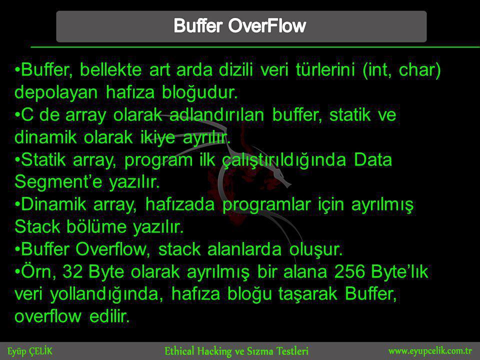 Buffer OverFlow Buffer, bellekte art arda dizili veri türlerini (int, char) depolayan hafıza bloğudur.