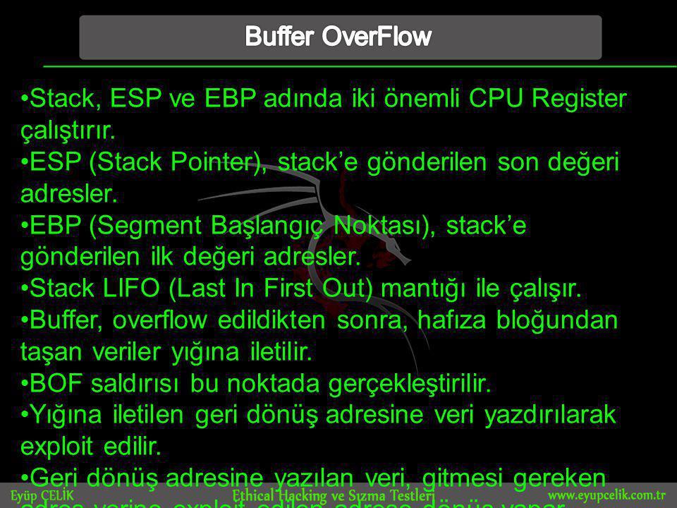 Buffer OverFlow Stack, ESP ve EBP adında iki önemli CPU Register çalıştırır. ESP (Stack Pointer), stack'e gönderilen son değeri adresler.