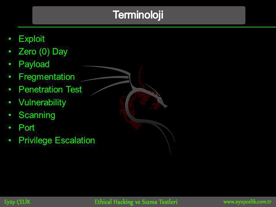 Terminoloji Exploit Zero (0) Day Payload Fregmentation