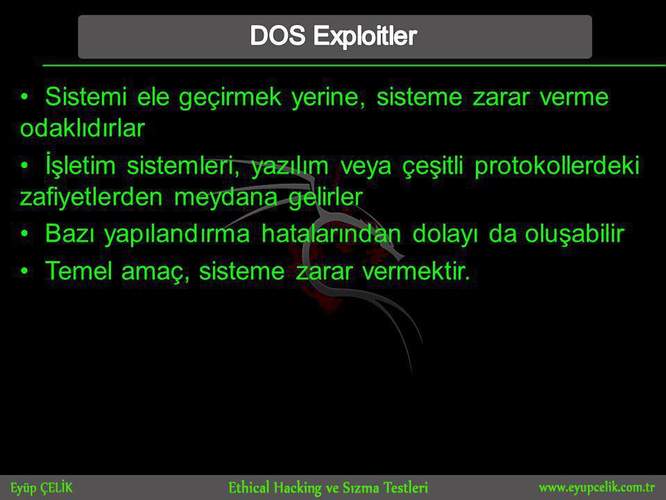 DOS Exploitler Sistemi ele geçirmek yerine, sisteme zarar verme odaklıdırlar.
