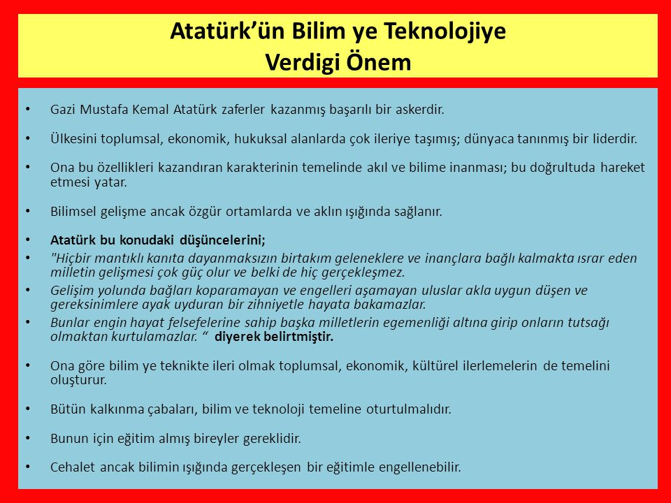 Atatürk'ün Bilim ye Teknolojiye Verdigi Önem