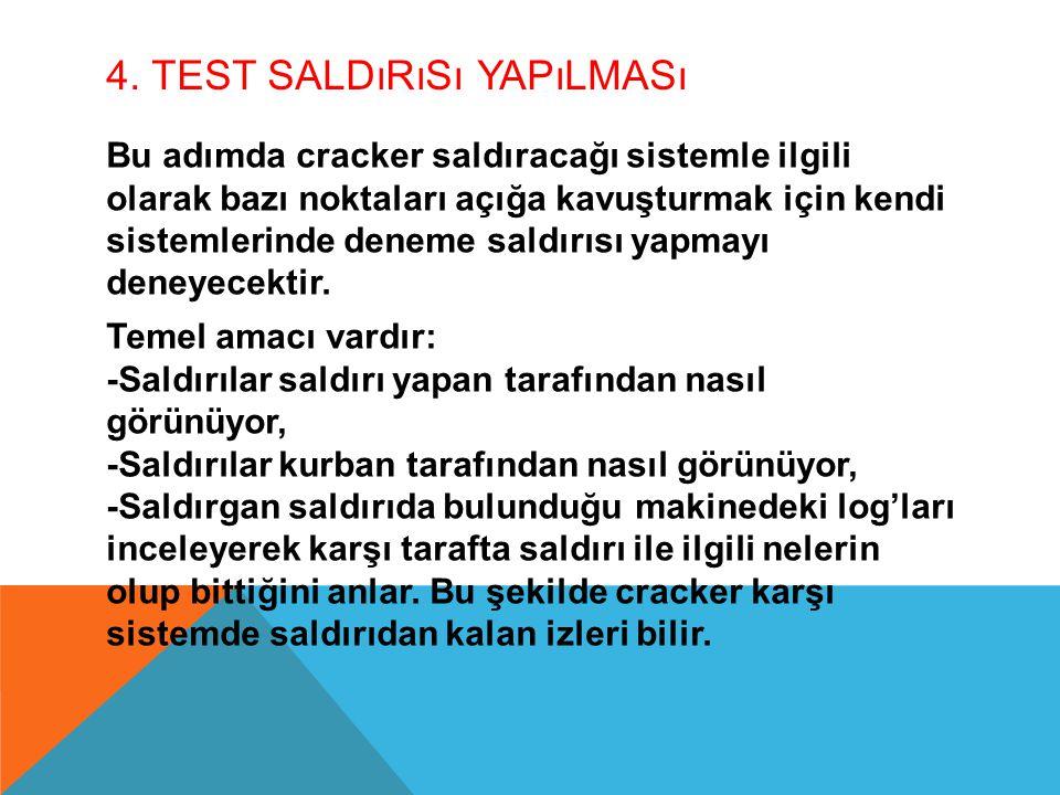 4. Test Saldırısı Yapılması