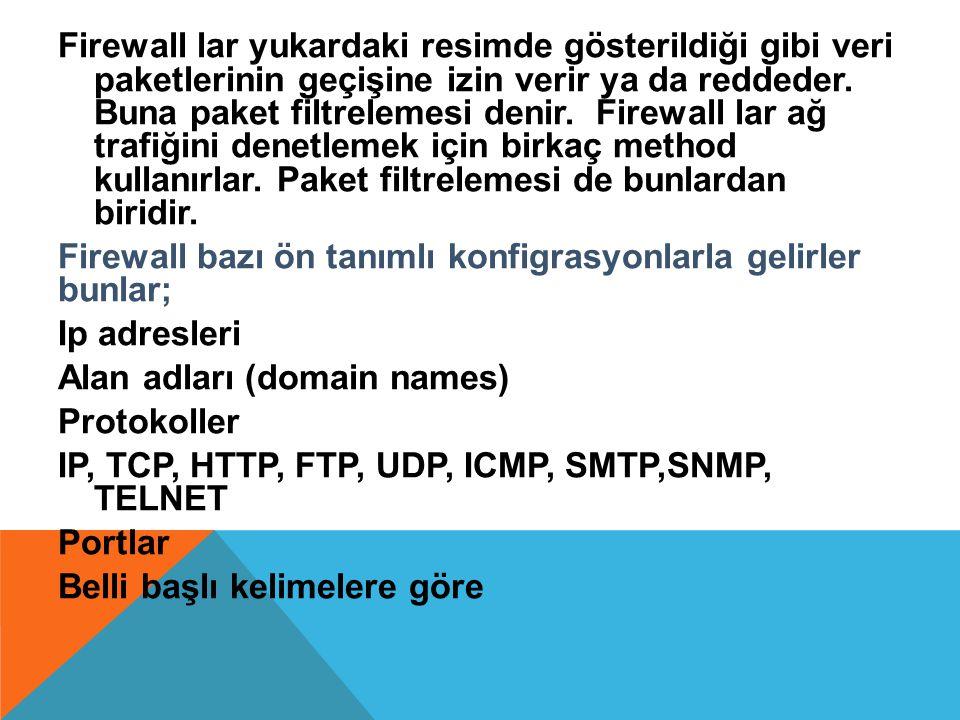 Firewall lar yukardaki resimde gösterildiği gibi veri paketlerinin geçişine izin verir ya da reddeder.