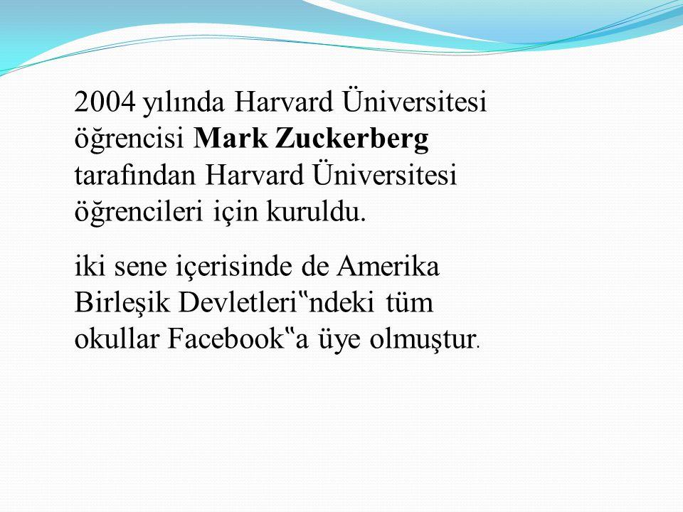 2004 yılında Harvard Üniversitesi öğrencisi Mark Zuckerberg tarafından Harvard Üniversitesi öğrencileri için kuruldu.