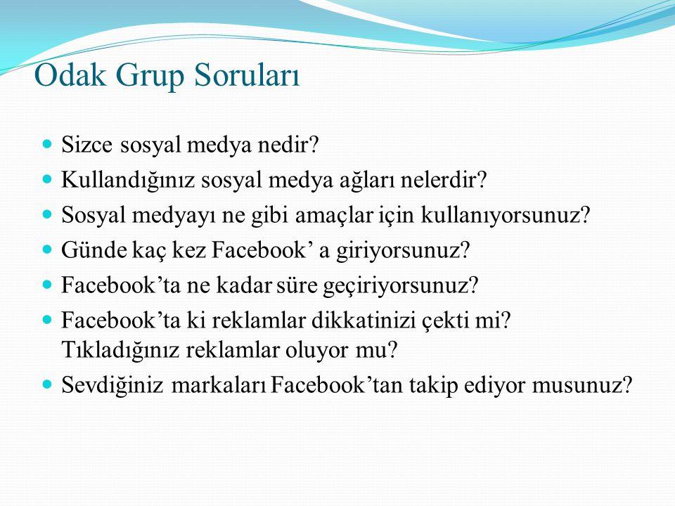 Odak Grup Soruları Sizce sosyal medya nedir