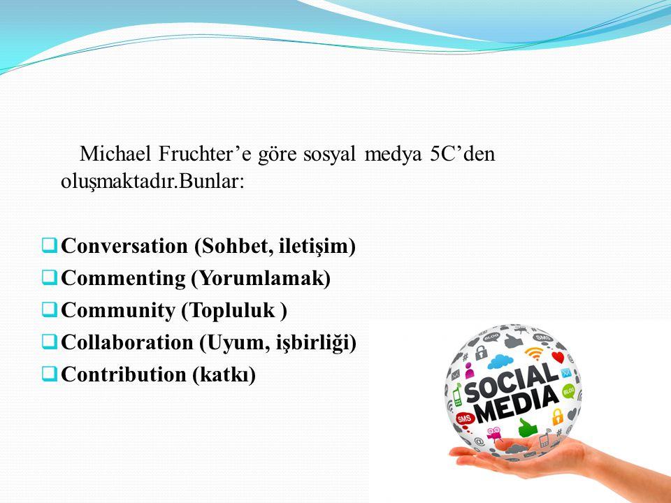 Michael Fruchter'e göre sosyal medya 5C'den oluşmaktadır.Bunlar: