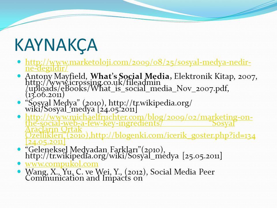 KAYNAKÇA http://www.marketoloji.com/2009/08/25/sosyal-medya-nedir-ne-degildir/
