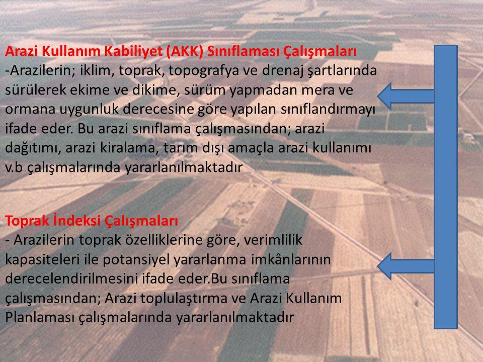 Arazi Kullanım Kabiliyet (AKK) Sınıflaması Çalışmaları