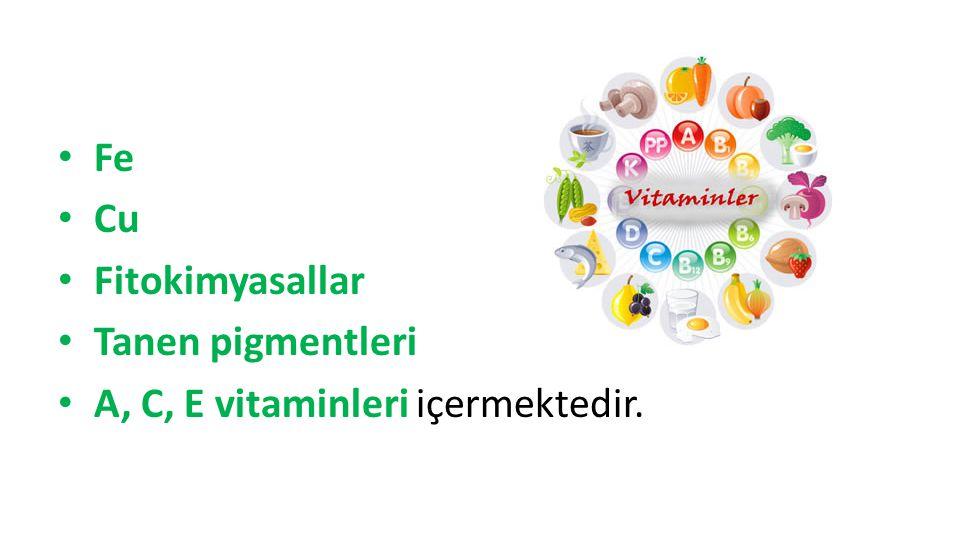 Fe Cu Fitokimyasallar Tanen pigmentleri A, C, E vitaminleri içermektedir.