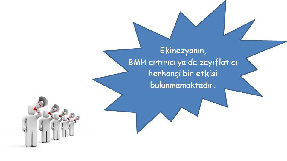 Ekinezyanın, BMH artırıcı ya da zayıflatıcı herhangi bir etkisi bulunmamaktadır.