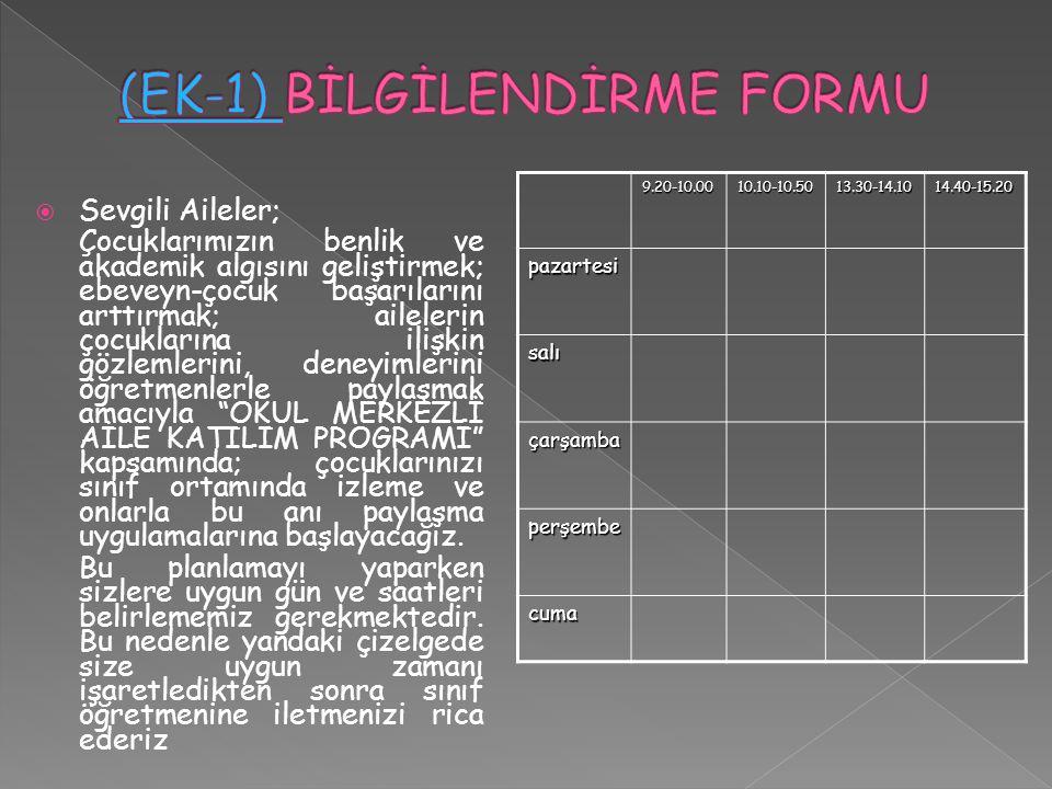 (EK-1) BİLGİLENDİRME FORMU