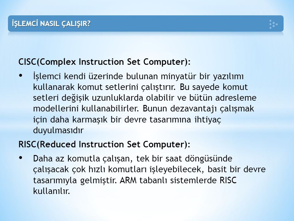 CISC(Complex Instruction Set Computer):