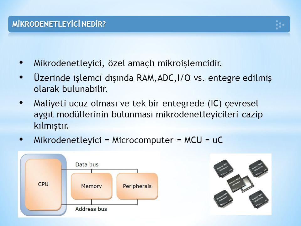 Mikrodenetleyici, özel amaçlı mikroişlemcidir.