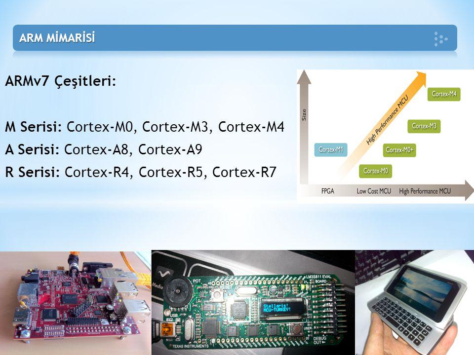 M Serisi: Cortex-M0, Cortex-M3, Cortex-M4