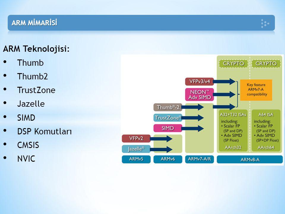 ARM Teknolojisi: Thumb Thumb2 TrustZone Jazelle SIMD DSP Komutları